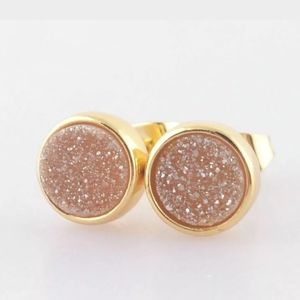 Natural Agate Titanium Druzy Gold Plated Earrings